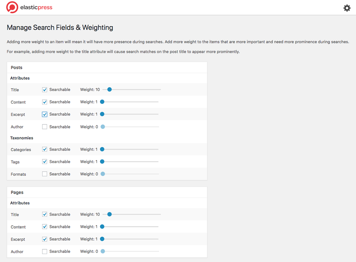 Screenshot of ElasticPress Search Fields And Weighting